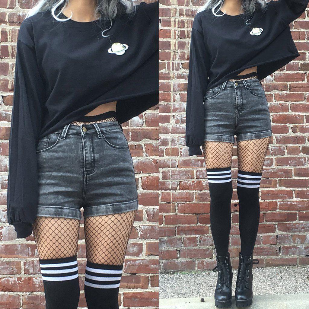 VINTAGE GRUNGE- WASHED BLACK DENIM SHORTS   Fashion ...