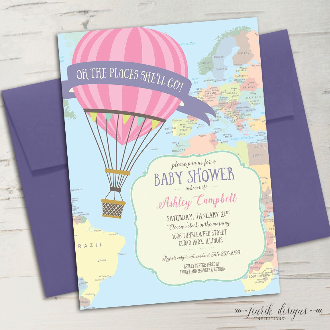 Hot Air Balloon Baby Shower Invitation || Oh the Places You\'ll Go ...