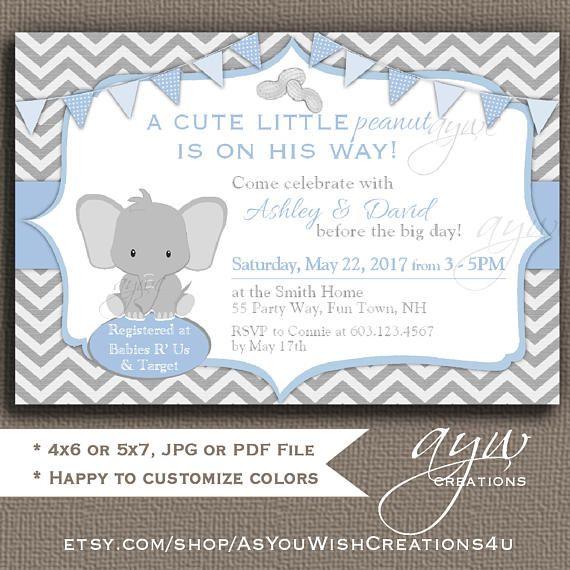 Elephant Baby Shower Invitation This Little Peanut Baby