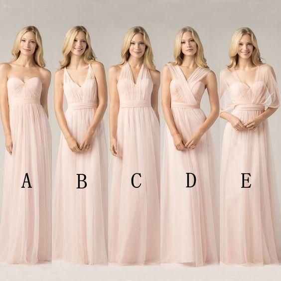Long Chiffon Blush Pink Convertible Bridesmaid Dresses