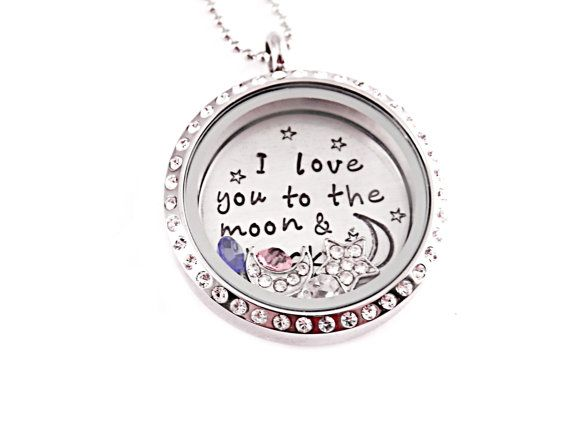 Personalized love locket necklace engraved stainless steel personalized love locket necklace engraved stainless steel memory locket floating charms i love you to the moon and back 1096 mozeypictures Images