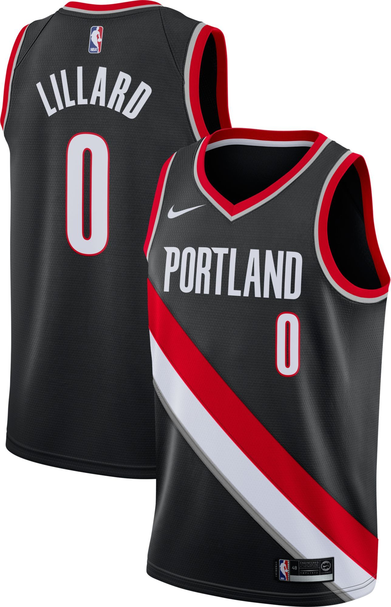 los angeles 0e622 10ed3 Nike Men's Portland Trail Blazers Damian Lillard #0 Black ...