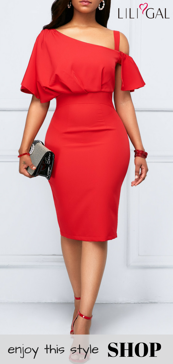 f734176384 Half Sleeve Zipper Back Red Sheath Dress #liligal #dresses #womenswear # womensfashion