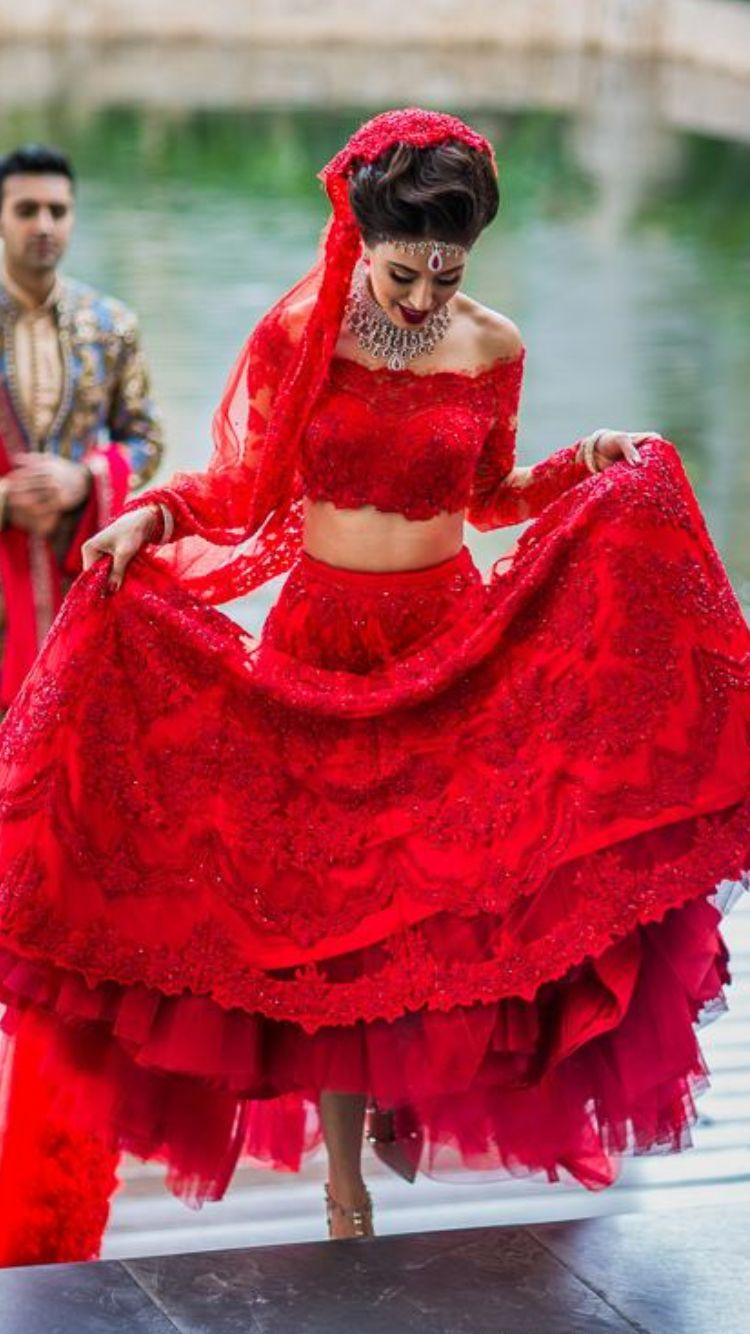 Red lace lengha indian bride in mexico destination for Red indian wedding dress