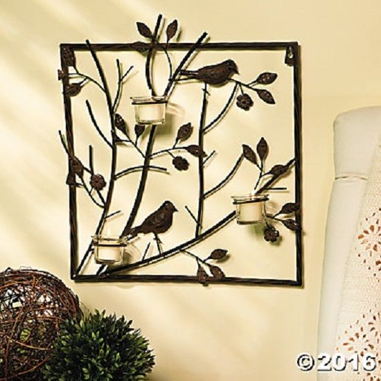 Bird Wall Sconce Tealight Votive Candle Holder 3D Metal Leaves Tree ...