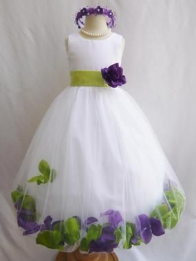5b868238167a1 Flower Girl Dress - Rose Petal Dress Combination Green Apple and Purple  (Custom Colors)