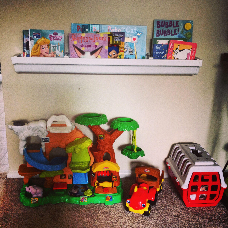 DIY Gutter Bookshelves :) So Easy!!! Will Be Doing More! 3