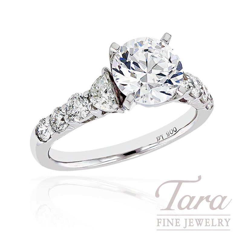 JB Star Platinum Diamond Engagement Ring Semi Mount six side