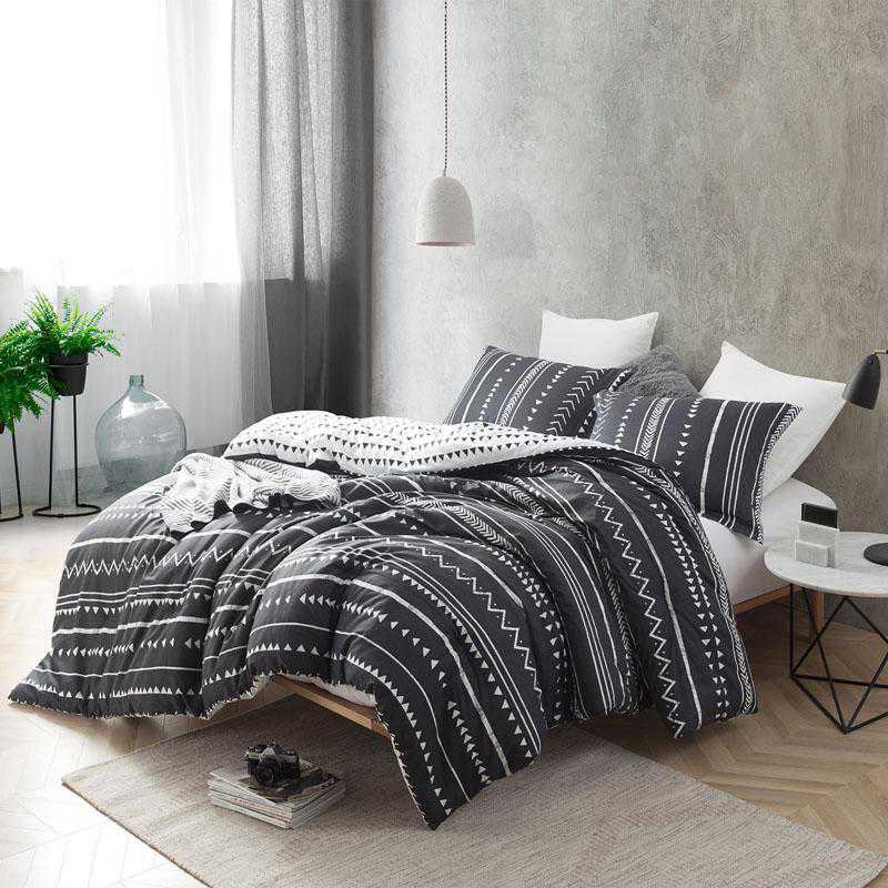 Photo of Trinity – Faded Black and White – Twin XL Dorm Comforter – 100% Cotton Bedding