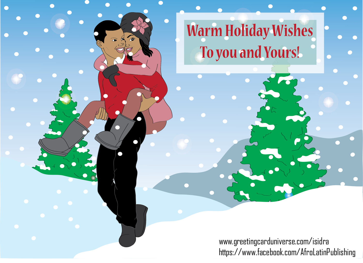 Christmas card couple in the snow warm holiday wishes black christmas card couple in the snow warm holiday wishes black couple holiday kristyandbryce Gallery