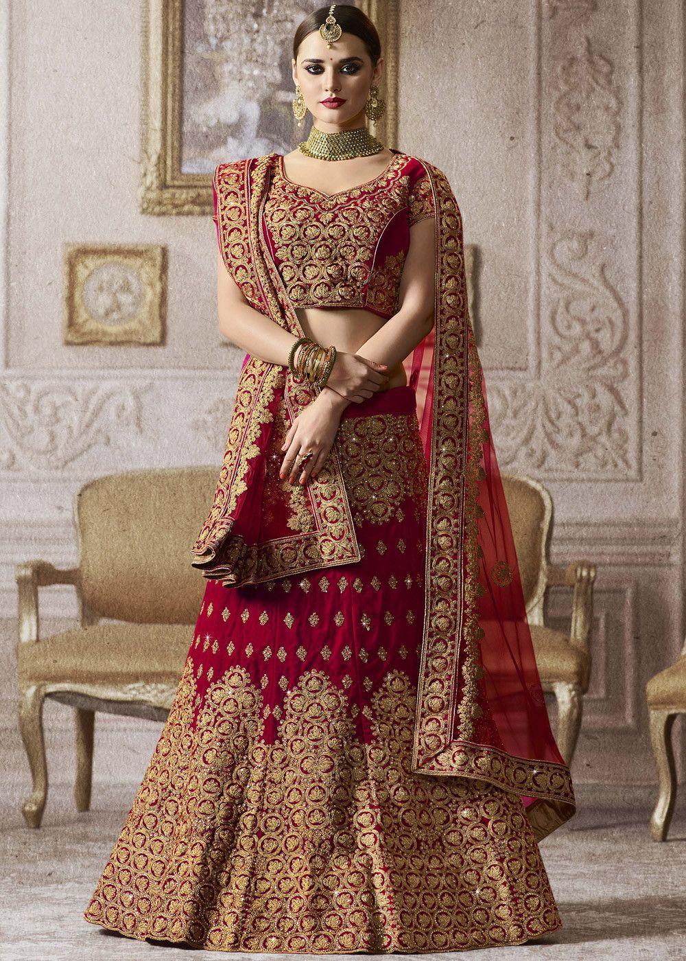 0eac0a83b0 Magenta Velvet #Bridal #Lehenga #Choli with all over heavy zari embroidery  and kundan work.