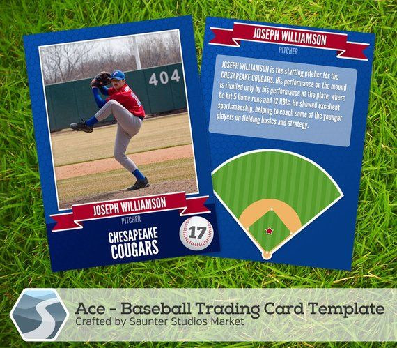 Ace Baseball Trading Card 25 X 35 Photoshop Template For
