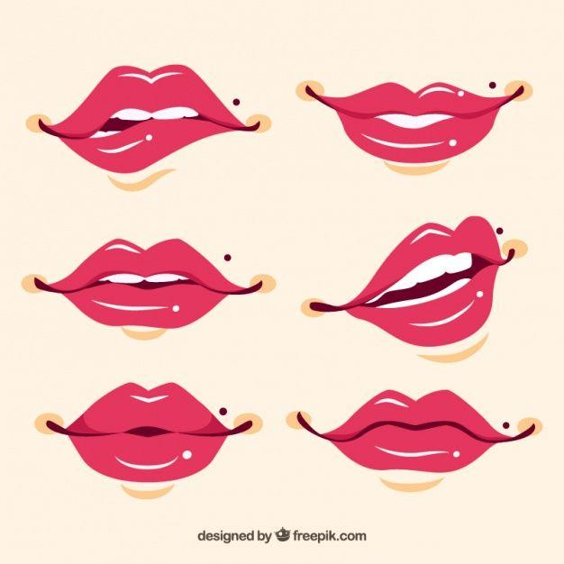 Set de bonitos labios dibujados a mano Vector Gratis