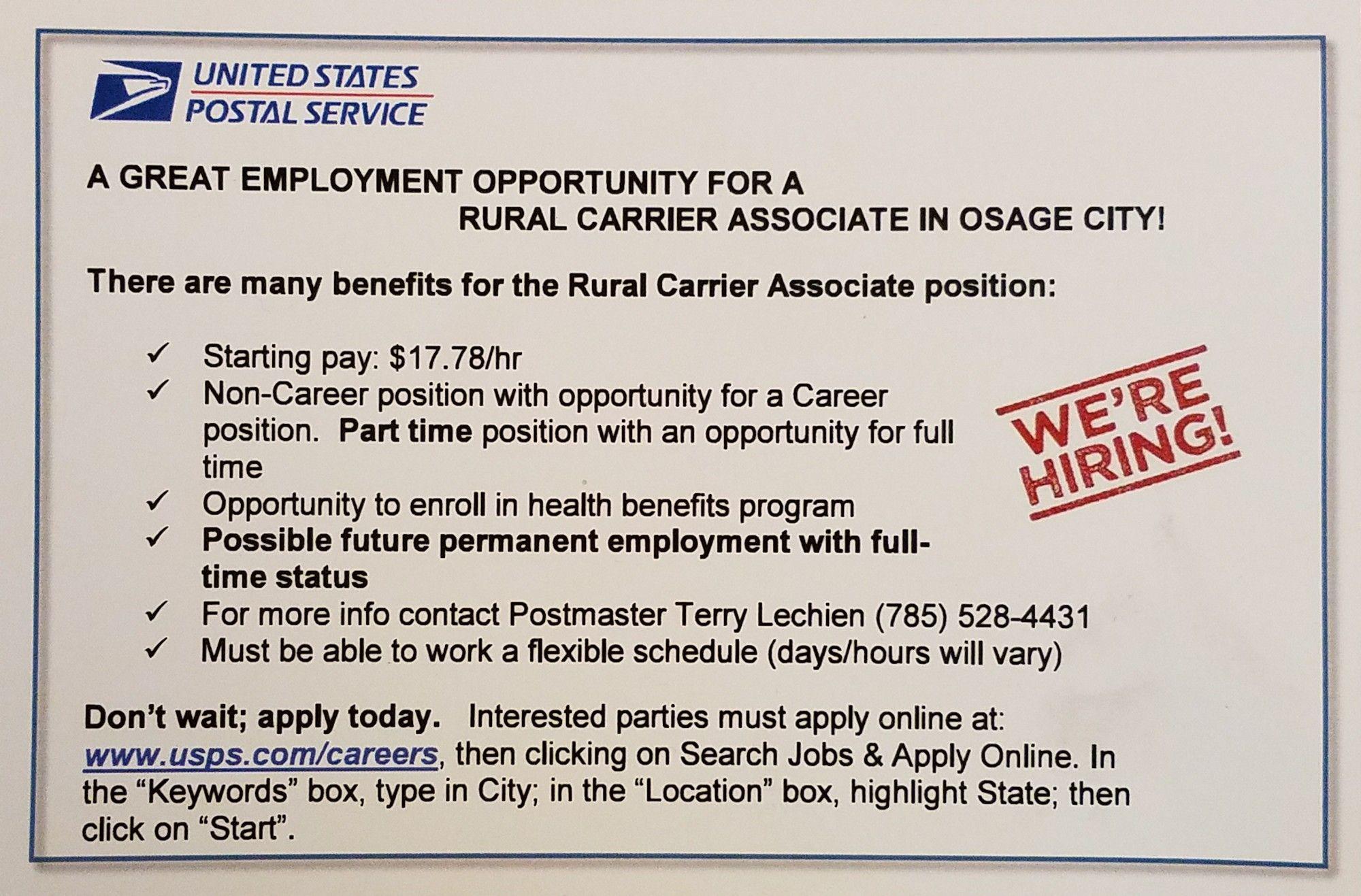 Now Hiring Employment Opportunities Rural Carrier Employment