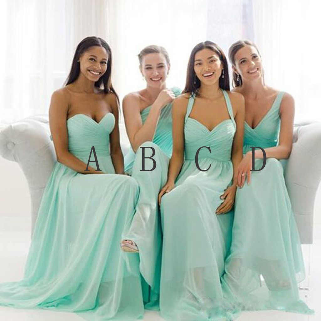 Mismatched Mint Chiffon Different Simple A Line Formal Floor-length ...