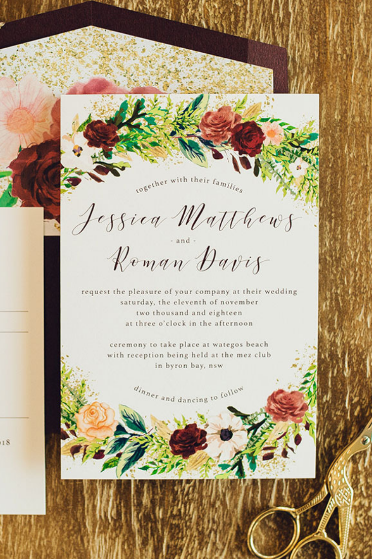 Our Burgundy Rose Wedding Invitation Features Layers Of Greenery Gold Accents Wedding Invitations Australia Custom Wedding Invitations Wedding Invitations