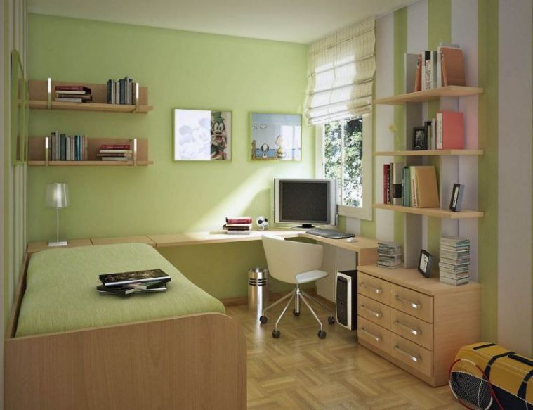 Small Modern Interior Bedroom Inspiration With Green Mint Color Include Study Room And Bookshelf At Small Bedroom Colours Small Room Design Small Bedroom Decor Modern green ergonomic kids bedroom