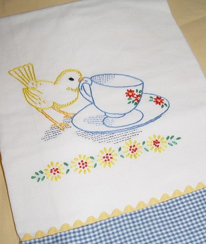 TEA TIME FOR LITTLE BIRD   Hand Embroidered Flour Sack Tea Towel With  Vintage Embroidery Design Part 34
