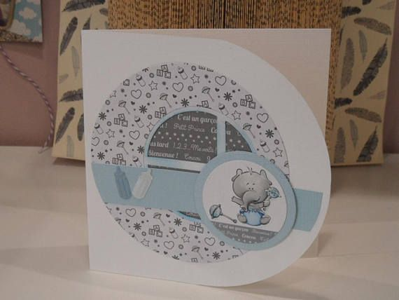 Card card congratulations baby boy card, blue, white and gray colors