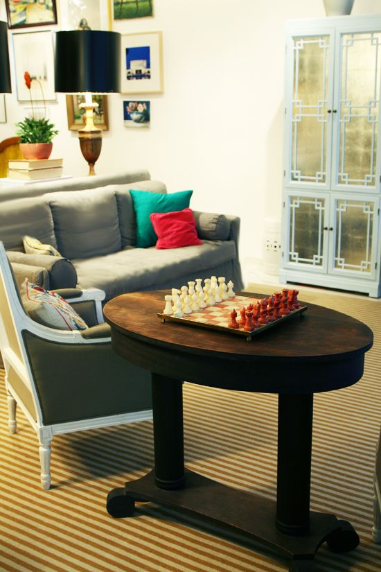 This just gave me an idea for a DIY chess table with hand-made pieces. Hmm...