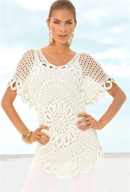 Jersey con Dibujo Central Patron - Patrones Crochet | Croche ...