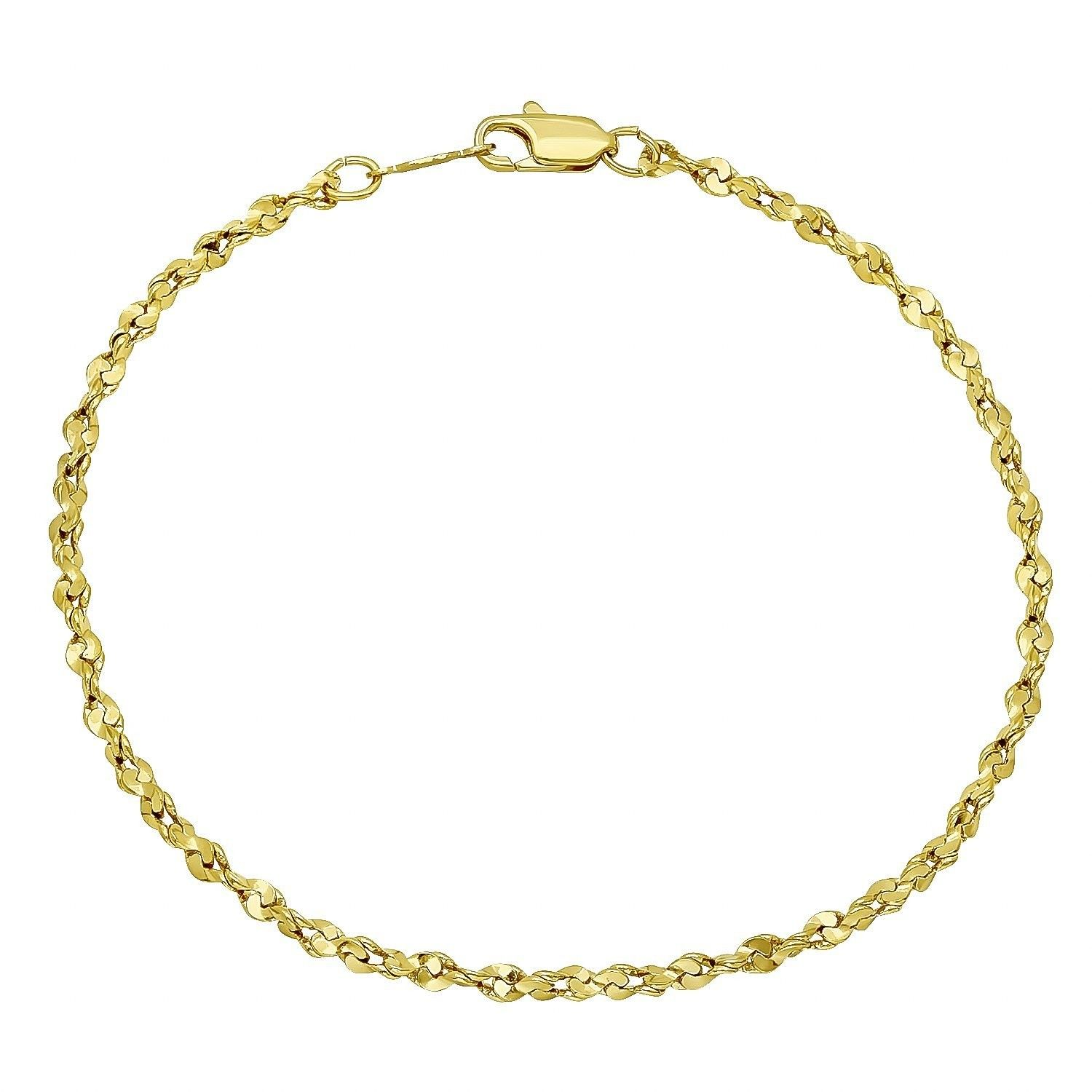 Thin 2.7mm 24k Gold Plated Twisted Singapore Link Chain
