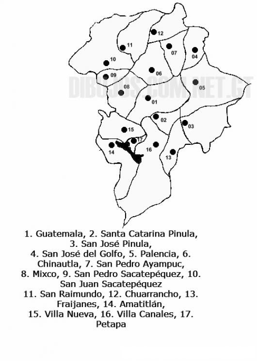 Colorear Mapa del departamento de Guatemala, Lamina del Departamento ...