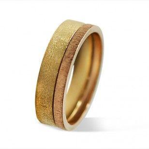 Alianza de boda oro rosa y oro amarillo