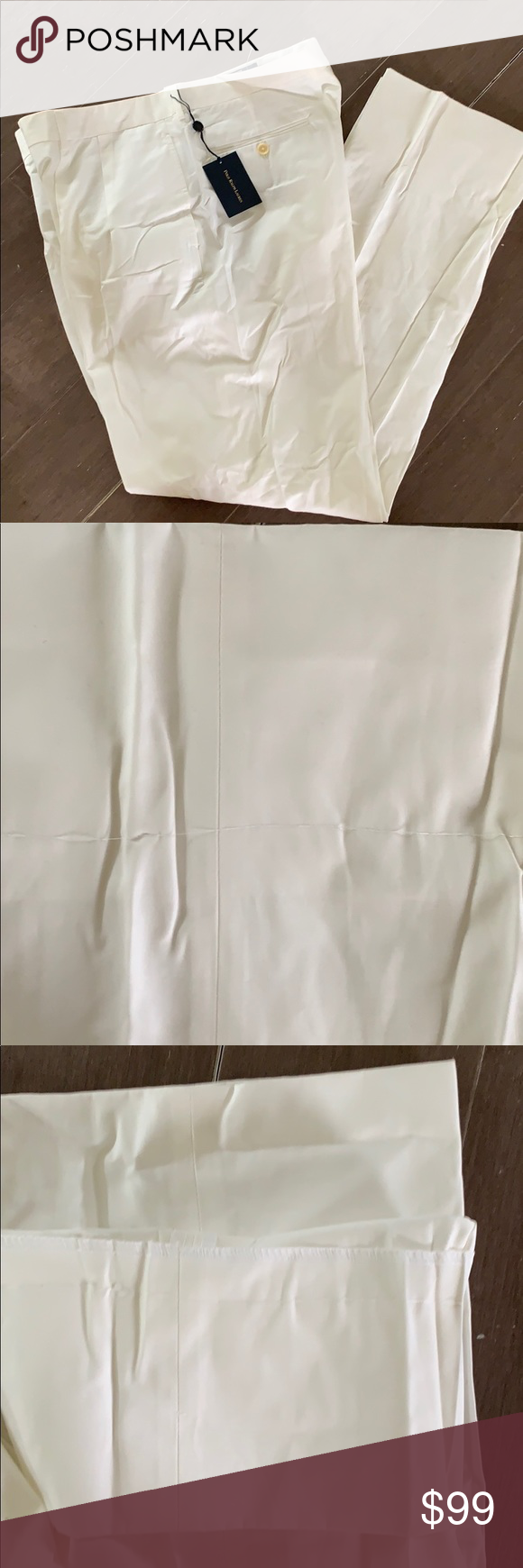 "NWT Polo by Ralph Lauren white slacks 38 $165 Unfinished so length can be customized. Total inseam 39"" so could be finished to fit short, regular, tall. A little discoloring at bottom of legs but will easily wash out or be cut off when you have them hemmed Polo by Ralph Lauren Pants Dress #whiteslacks"