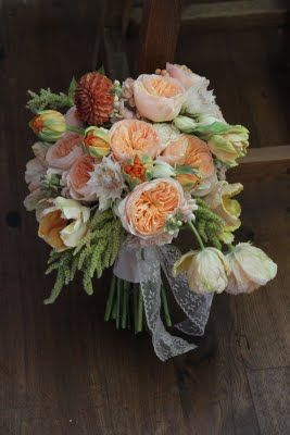 Rustic Romance Bouquet. Love the pale orange and cream flowers. I would tweek and add some light brown leaves.