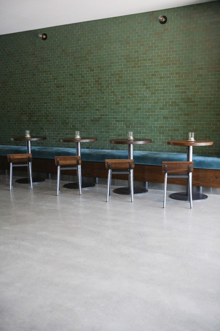 Cool Bar Interior With Blue Velvet Bench Seating And Green Tiled Machost Co Dining Chair Design Ideas Machostcouk