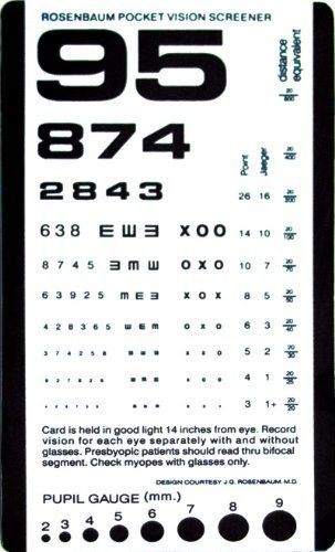 Grafco Pocket Size Plastic Eye Chart, 6 3/8\