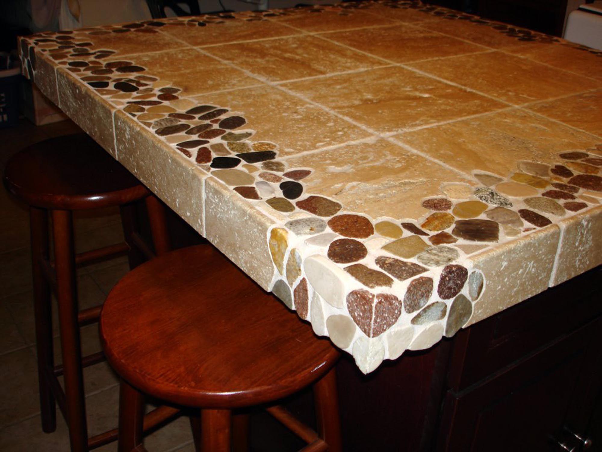 Riverstone And Travertine Custom 4 X4 Kitchen Island Countertop Tile Countertops Kitchen Tile Countertops Kitchen Island Countertop