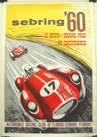 1960 - '12 Hours Grand Prix of Endurance' at Sebring Race Meeting poster