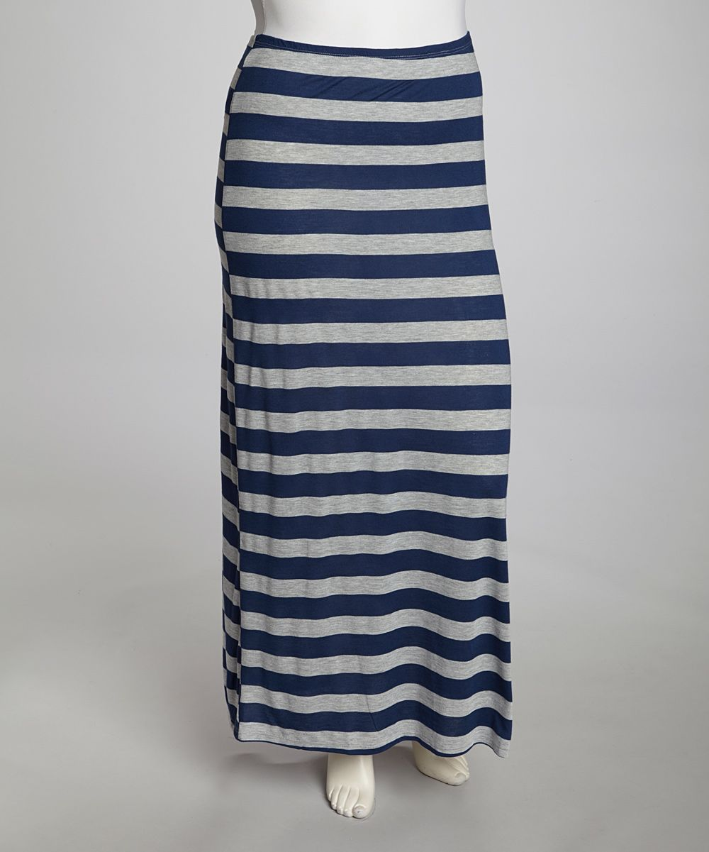 80ecb027f97 Poliana Plus Navy   Gray Stripe Maxi Skirt - Plus