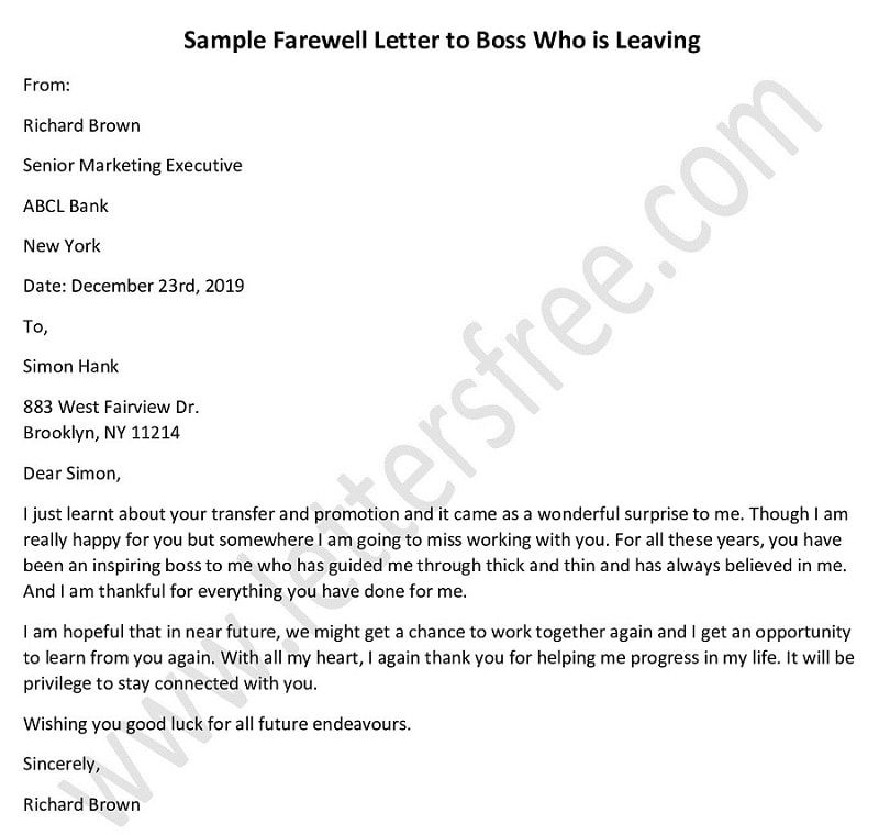 Farewell Letter To Boss Who Is Leaving Goodbye Letter In 2020