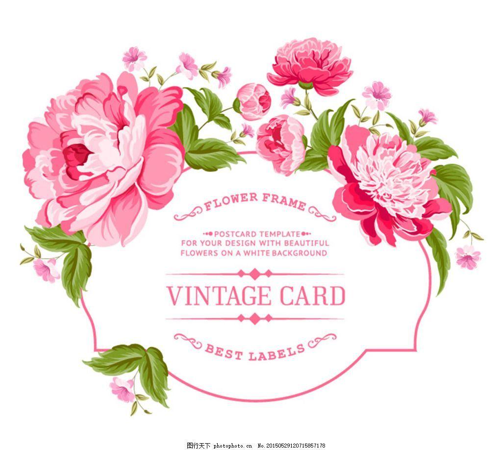 Vintage Flower Border Vector Google Search Peony Illustration Vector Flowers Vintage Flowers
