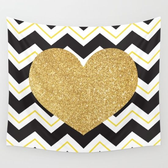 Golden Glittery Heart Wall Tapestry | Wall Decoration | Pinterest ...