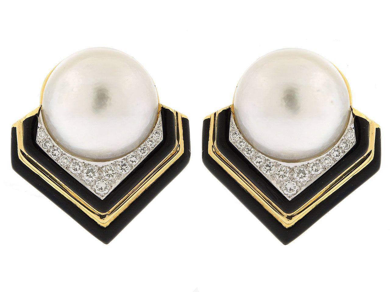 David Webb Mabe Pearl Diamond And Black Enamel Earrings In 18k Platinum