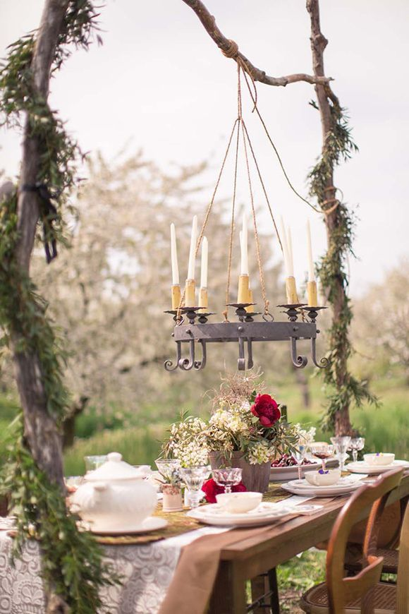 romantic dinner. table set up. rustic. outdoor event party or wedding. & romantic dinner. table set up. rustic. outdoor event party or ...