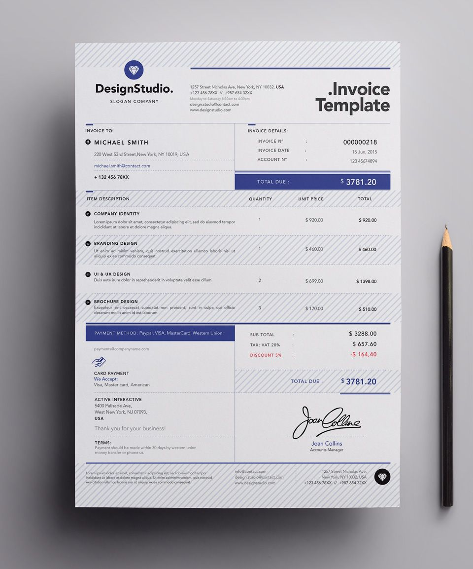 sprInvoice Template | Template, Resume styles and Mockup