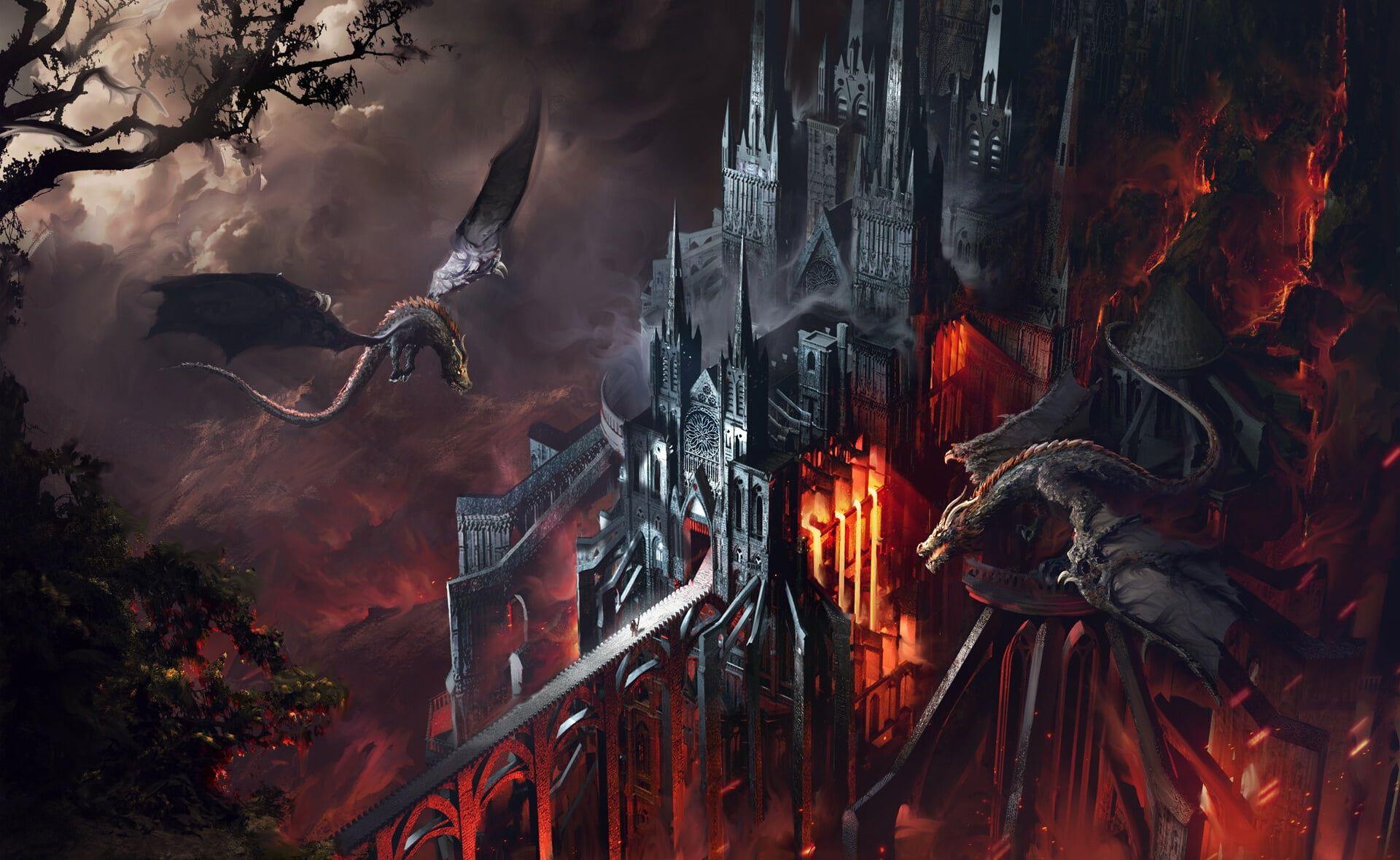 Fantasy Dragon Castle 1080p Wallpaper Hdwallpaper Desktop In 2020 Hd Wallpaper Dragon Fantasy
