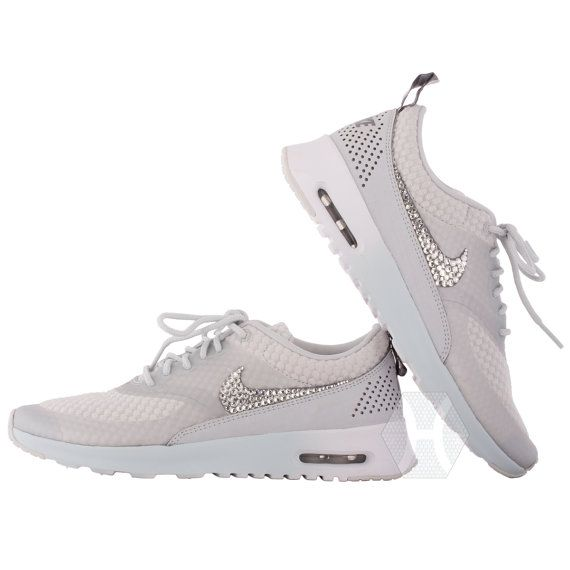 differently 2eb33 66731 Women s Nike Air Max Thea Premium w Swarovski Crystals details in Light  Base Grey Cool Grey Metallic