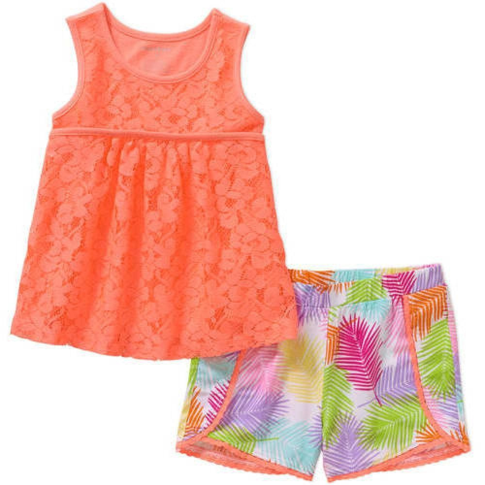 58e59e660 Healthtex Baby Toddler Girl's Fashion Tank Top and Shorts 2-Piece Outfit  Set (5T