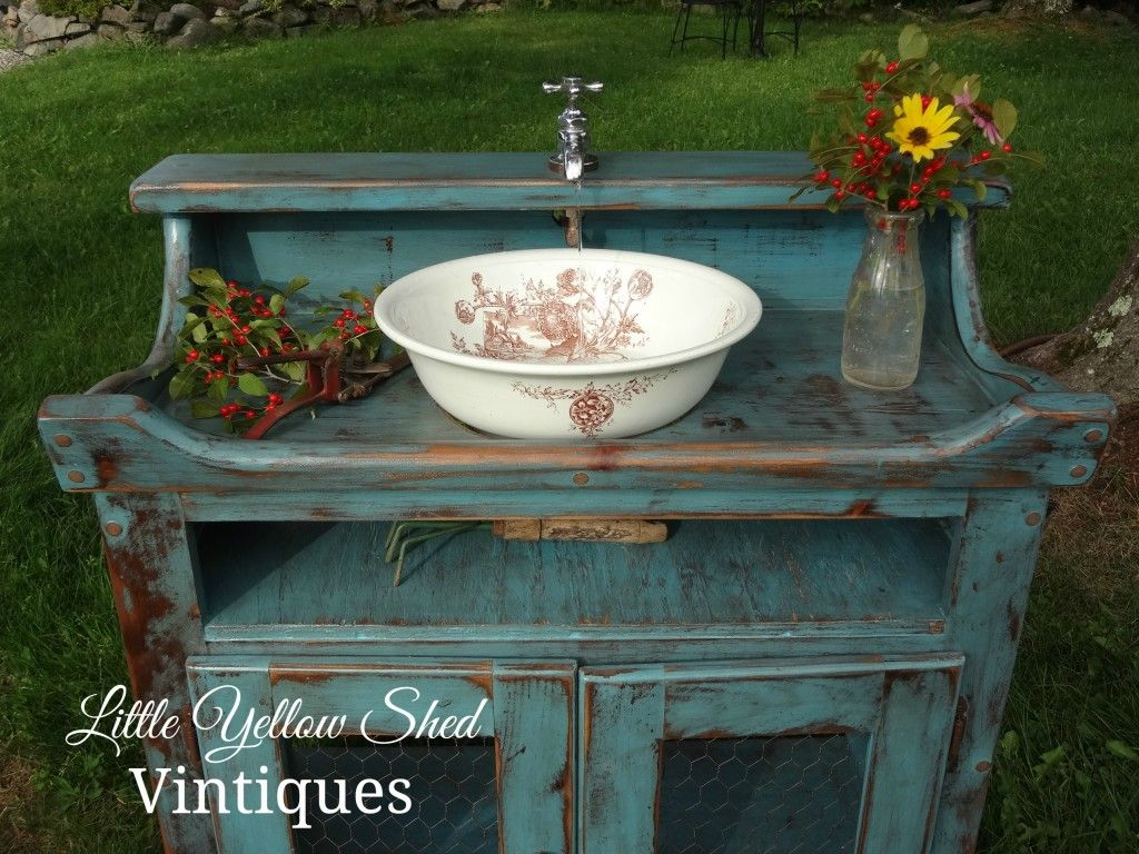 Working Outdoor Sink Was Reimagined From An Out Date Vintage Dry Sink. A  Step