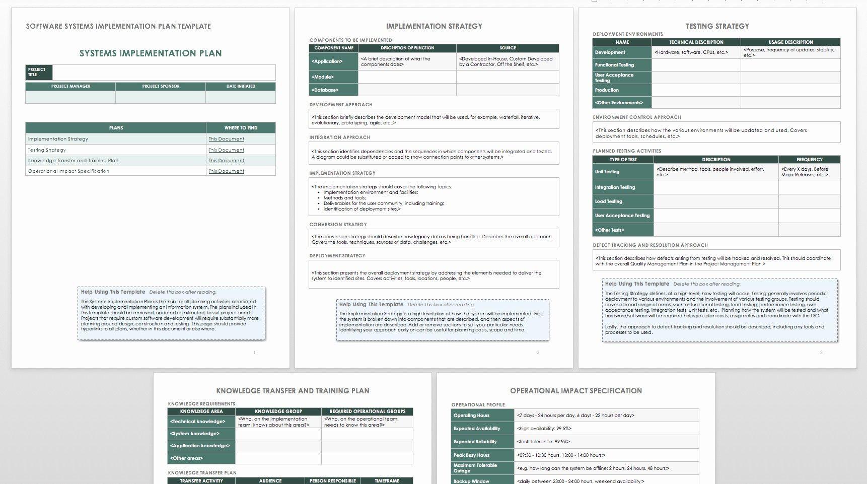 Software Implementation Project Plan Template Elegant