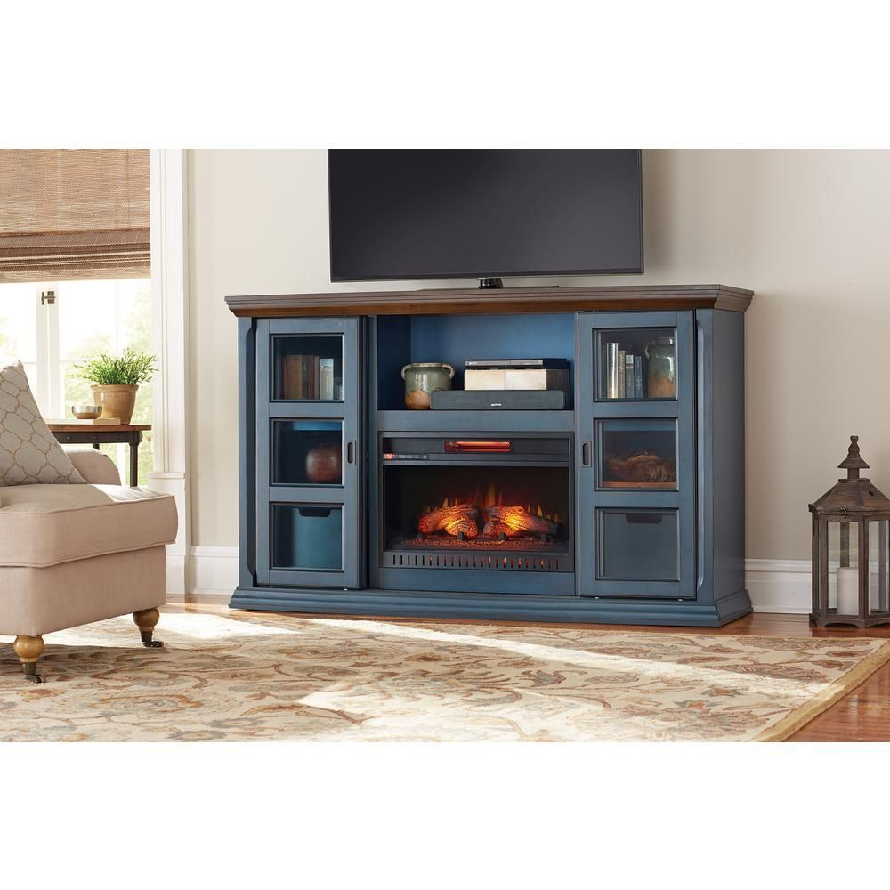 Arabian Tall 65 In Tv Stand Infrared Electric Fireplace In Antique