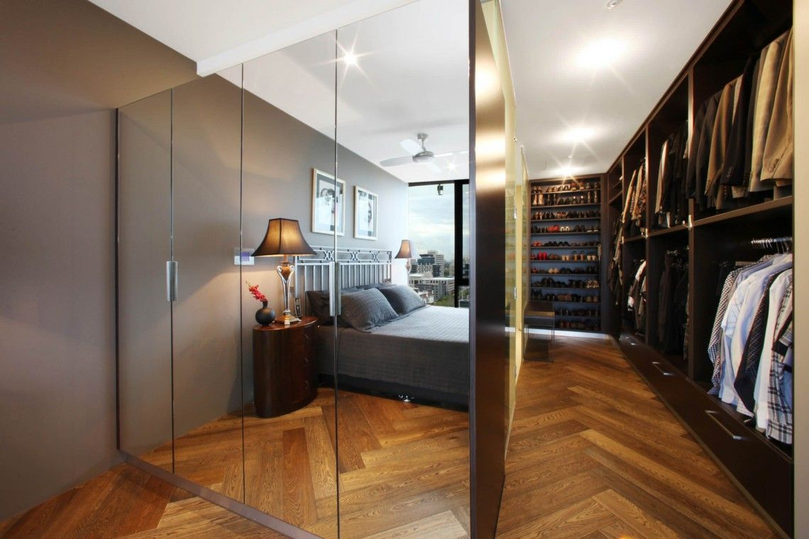 Irresistible Modern Mirrored Closet Doors Design Alternative Showing