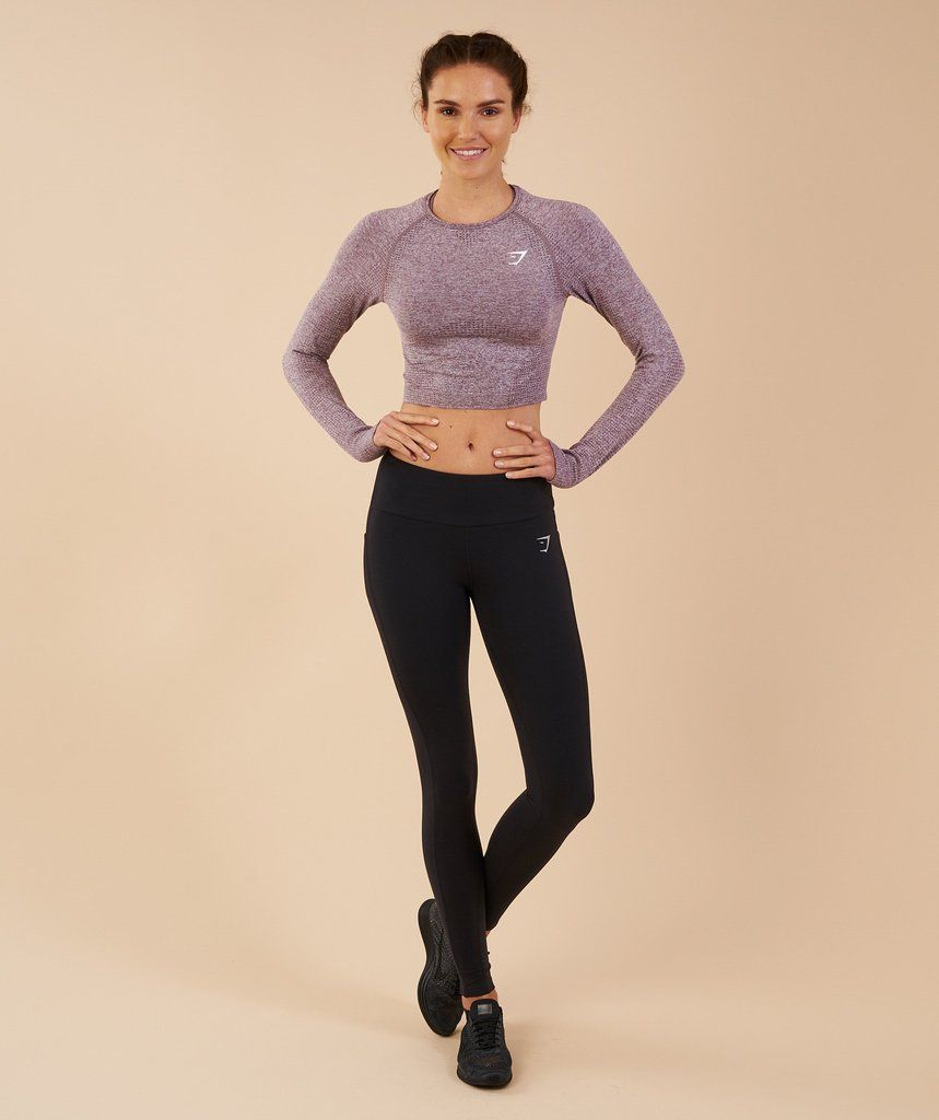 f1bd5c23b056 Gymshark Vital Seamless Long Sleeve Crop Top - Purple Wash Marl 1 Long  Sleeve Crop Top