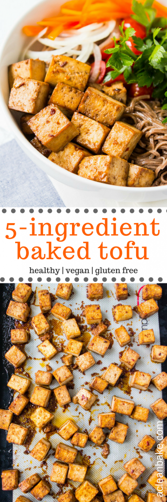 Quick And Easy 5 Ingredient Baked Tofu Recipe Tofu Recipes Vegan Baked Tofu Recipes
